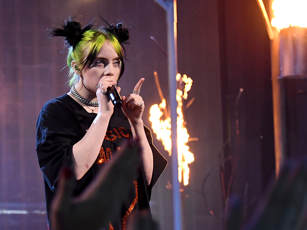 Billie Eilish performs onstage during the 2019 American Music Awards at Microsoft Theater on Nov. 24, 2019 in Los Angeles.
