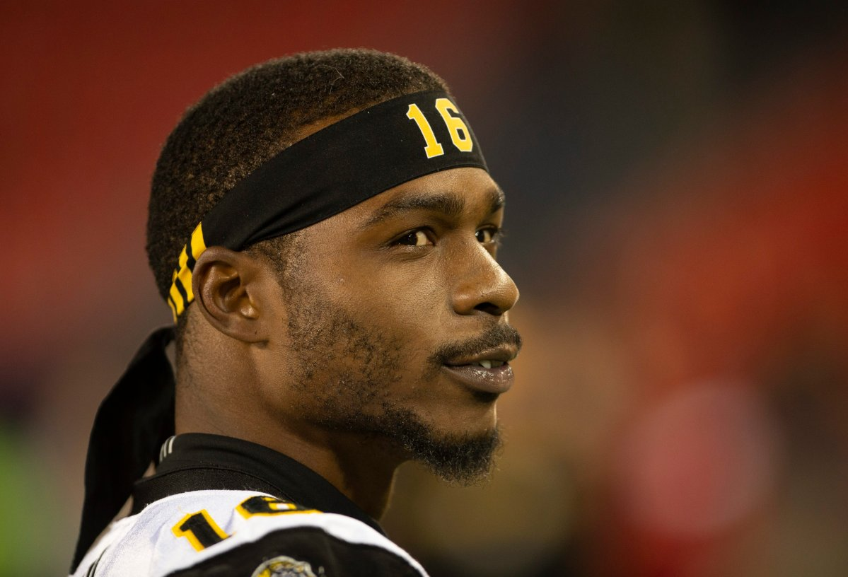 Hamilton Tiger-Cats receiver Brandon Banks (16) has been named the 2019 Golden Horseshoe Athlete of the Year.