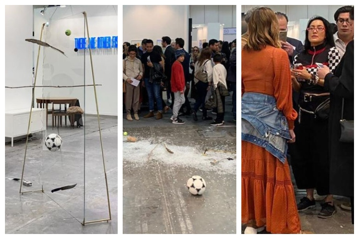 Artist Gabriel Rico's work is shown before, left, and after it was destroyed, centre, by critic Avelina Lesper, right.