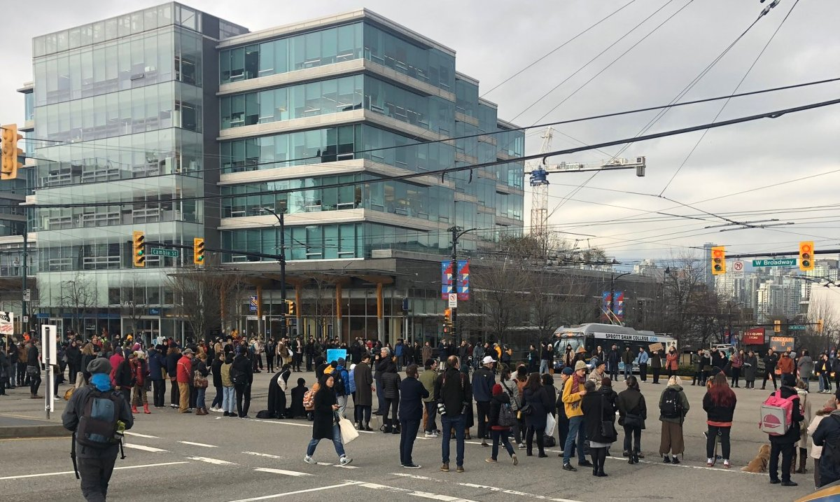 Protesters occupy the intersection of Cambie and Broadway on Tuesday, Feb. 11, 2020.