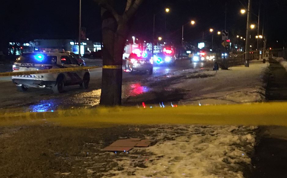 Police block off part of Sheppard Avenue East Friday evening after a woman was found.
