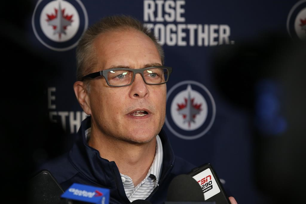 Winnipeg Jets head coach Paul Maurice talks to media during the first day of the Jets NHL training camp in Winnipeg on September 13, 2019.