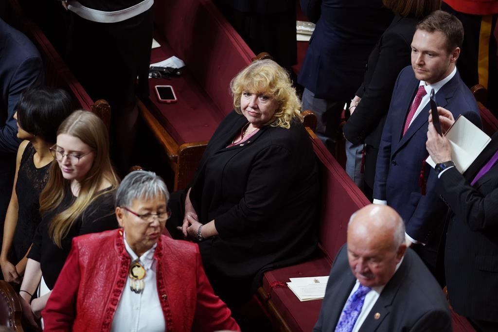 Senator Lynn Beyak waits for the Throne Speech in the Senate chamber in Ottawa, Thursday, Dec. 5, 2019.