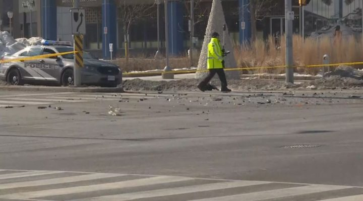 The scene of the crash near Don Mills Road and Lawrence Avenue Sunday morning.