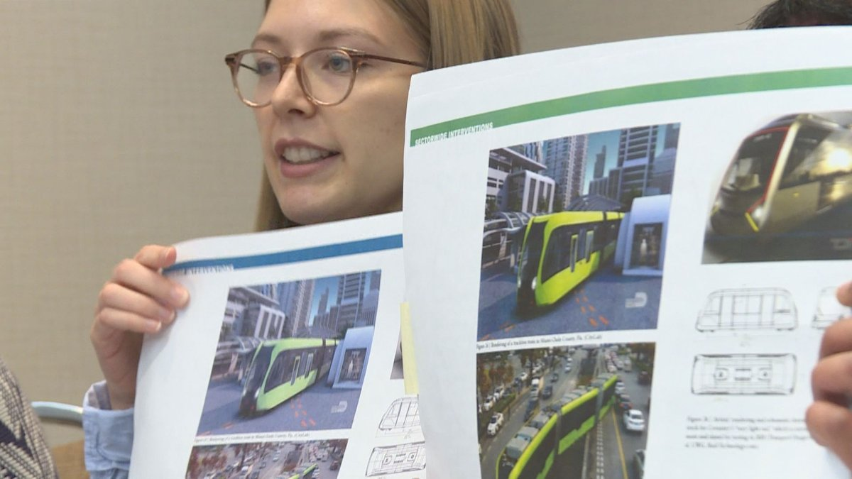 A student from McGill University presents a transit proposal to solve congestion problems around Decarie Boulevard.  (Global News).