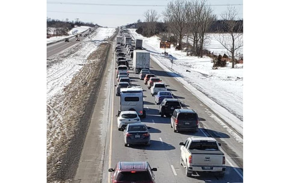 Traffic has been slows in the westbound lanes of Highway 401 for hours Friday following a serious collision involving two transports.