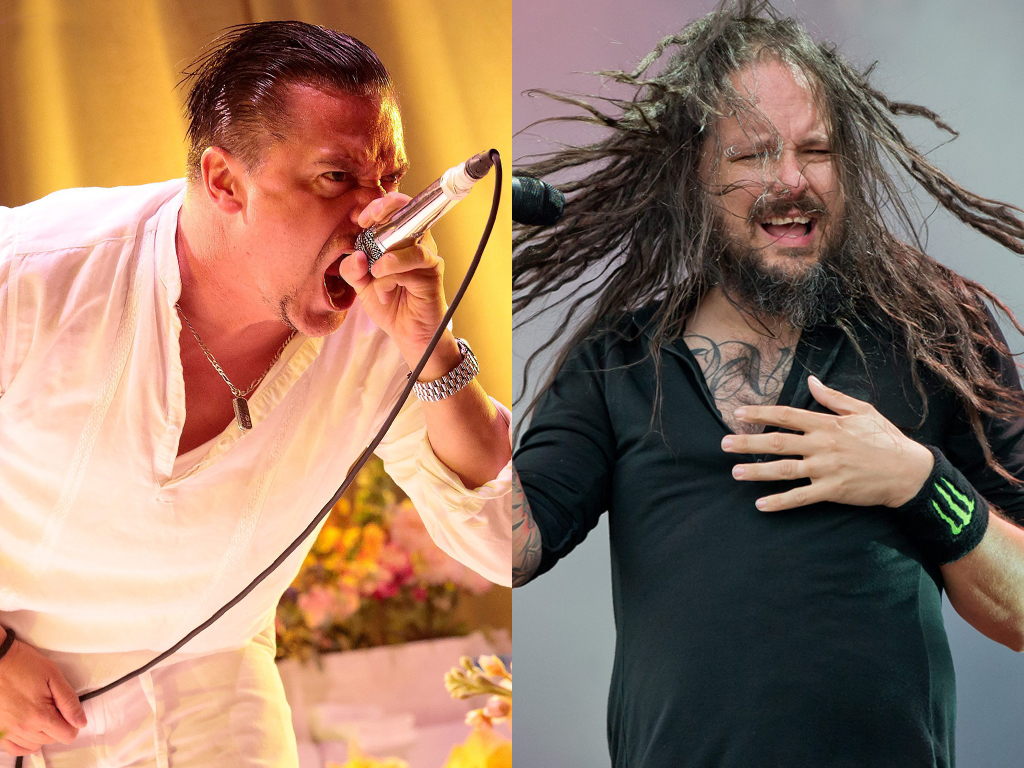 (L-R) Mike Patton of Faith No More and Jonathan Davis of Korn performing live on stage.