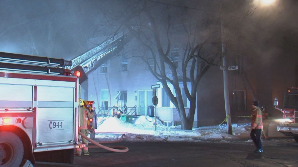 Montreal police are investigating after an apartment block caught fire in the borough of Mercier-Hochelaga-Maisonneuve early on the morning of Monday, Feb. 24, 2020.