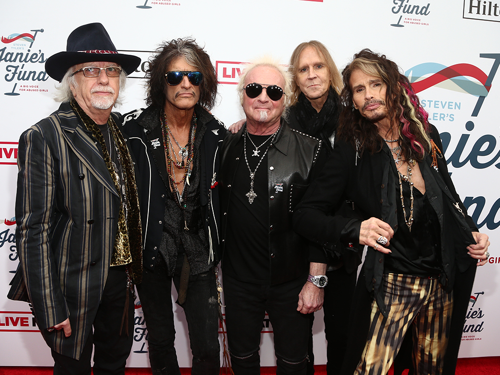 (L-R) Brad Whitford, Joe Perry, Joey Kramer, Tom Hamilton and Steven Tyler of Aerosmith attend Steven Tyler's Second Annual Grammy Awards Viewing Party to benefit Janie's Fund presented by Live Nation at Raleigh Studios on Feb. 10, 2019 in Los Angeles, Calif.