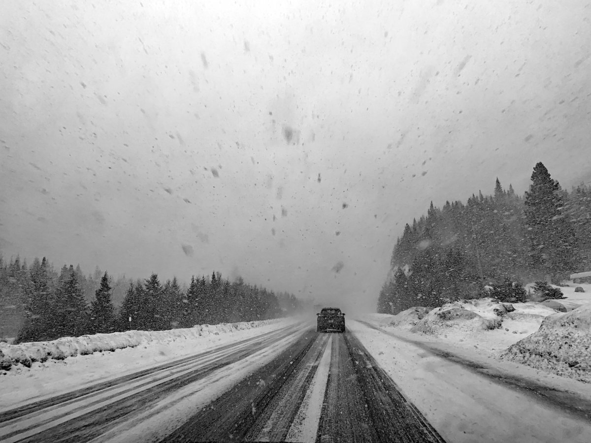 A car drives on a snowy road during a snowstorm. On each side of the road, there is a pine forest. Photograph taken during winter 2019, near Montremblant, Quebec, Canada.