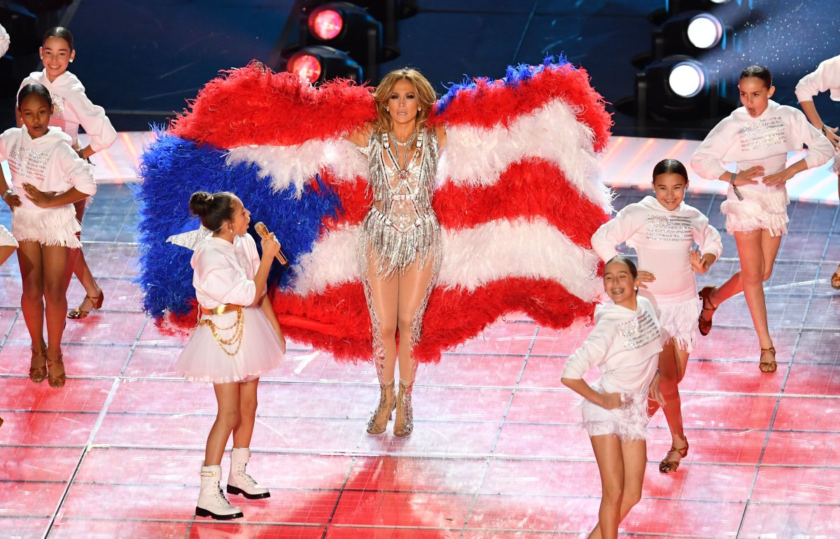 Jennifer Lopez and her daughter Emme Muniz (L) perform during the halftime show of Super Bowl LIV between the Kansas City Chiefs and the San Francisco 49ers at Hard Rock Stadium in Miami Gardens, Fla, on Feb. 2, 2020.