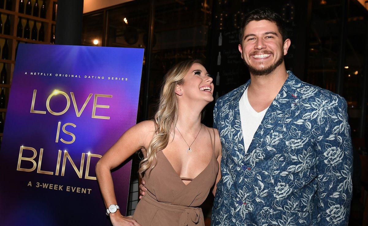 "Amber Pike and Matt Barnett attend ""Love Is Blind"" Atlanta screening & reception at City Winery on February 27, 2020 in Atlanta, Georgia."