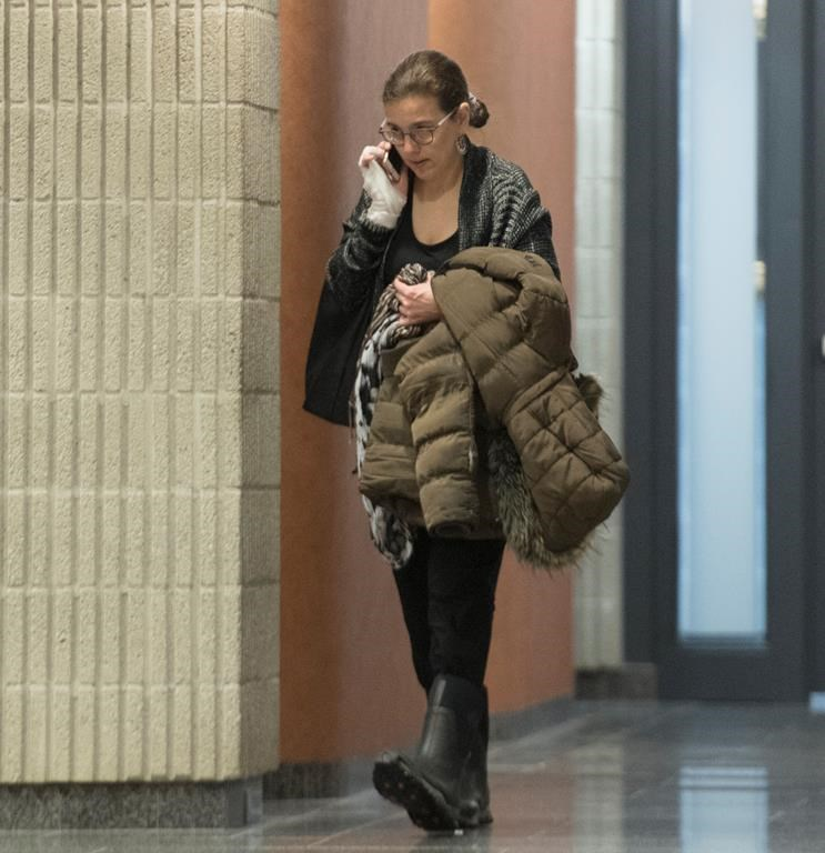 Clara Wasserstein arrives at the courthouse in Montreal, Monday, February 10, 2020.