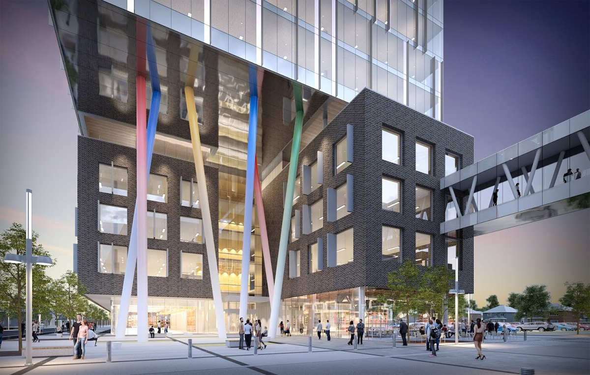 An artist's rendering of Google's planned new office in Kitchener.