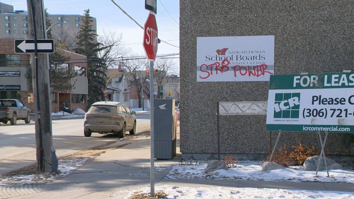 Anti-LGBTQ2 graffiti appeared on the Saskatchewan School Boards Association building on Saturday.