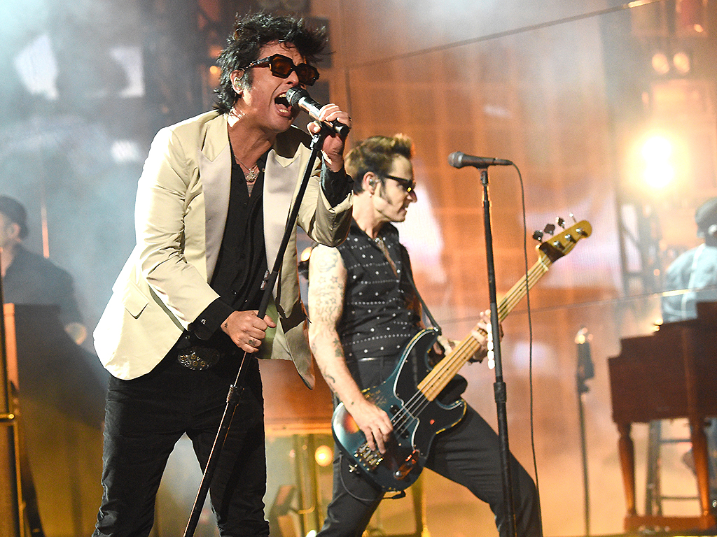 Billie Joe Armstrong and Mike Dirnt of Green Day perform onstage during the 2019 American Music Awards at Microsoft Theater on Nov. 24, 2019 in Los Angeles, Calif.