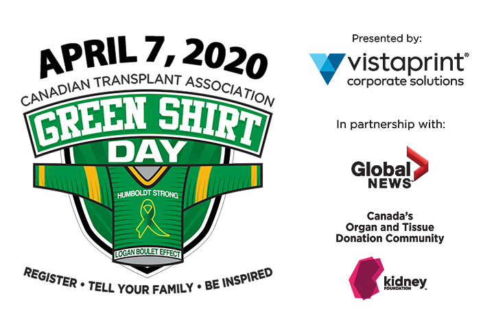 Canadian Transplant Association Green Shirt Day is April 7, 2020.