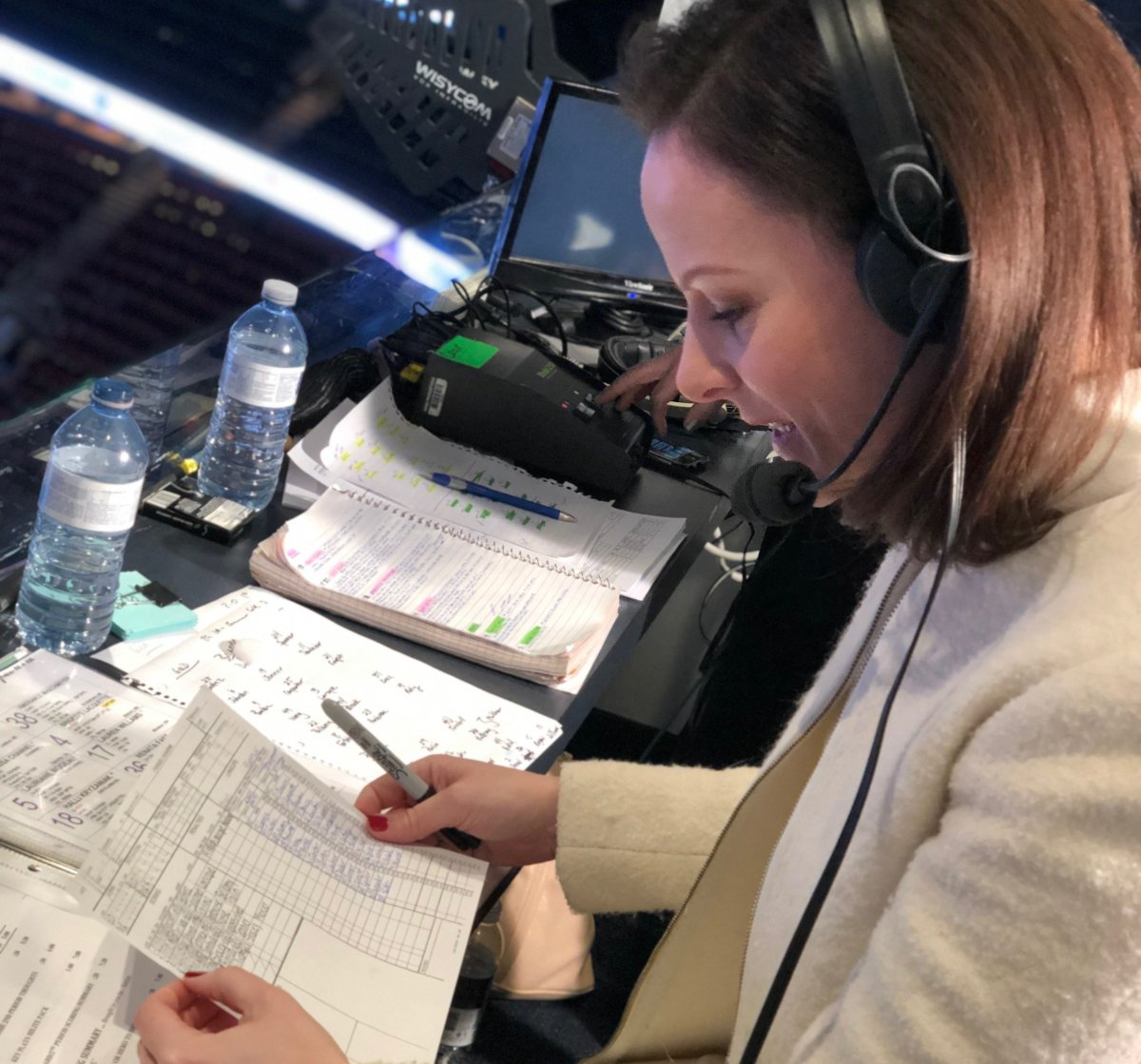 680 CJOB Hockey Analyst and Rogers Sportsnet Play by Play Broadcaster Leah Hextall recapping the scoring plays of the CWHL All Star Game at Scotiabank Arena in Toronto. Supplied Photo .