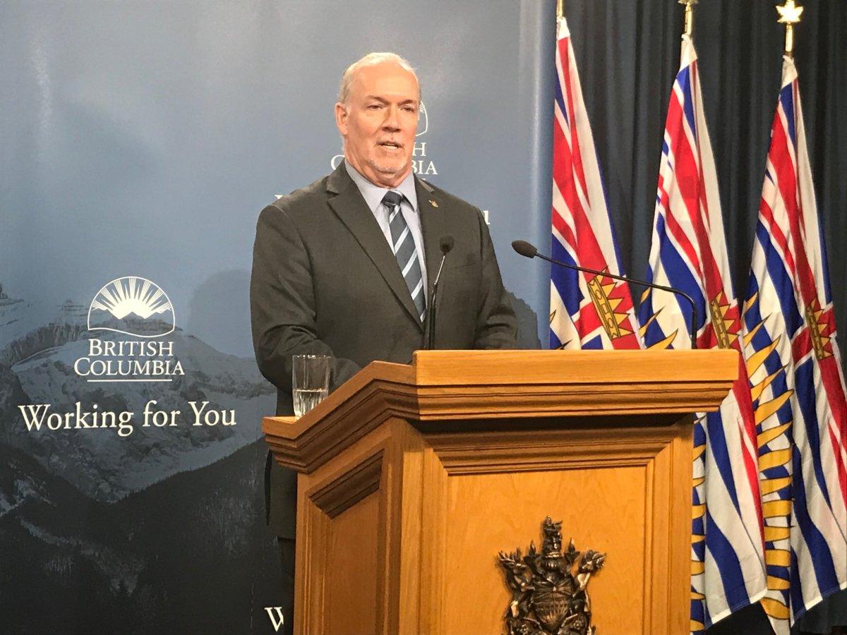 Premier John Horgan speaking to reporters on Wednesday, February 12, 2020.