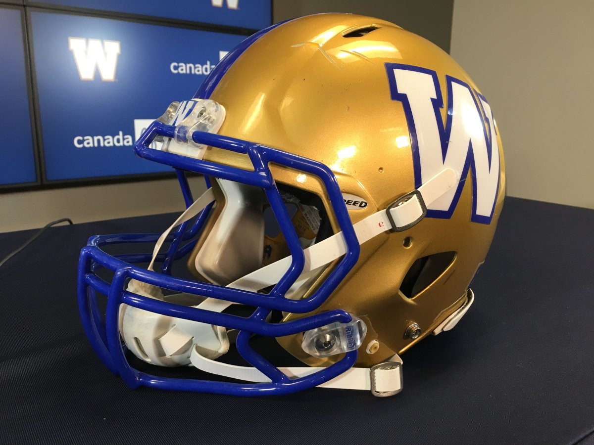 A Winnipeg Blue Bombers' helmet is seen in this file photo.