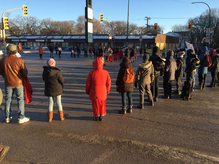 A protest takes place on Portage Avenue Monday to show support to Wet'suwet'en and Tyendinaga.
