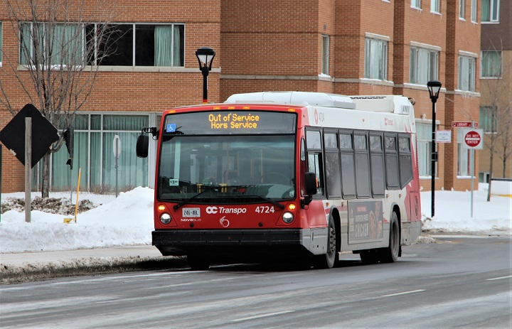 An out of service OC Transpo bus is seen at Carleton University.