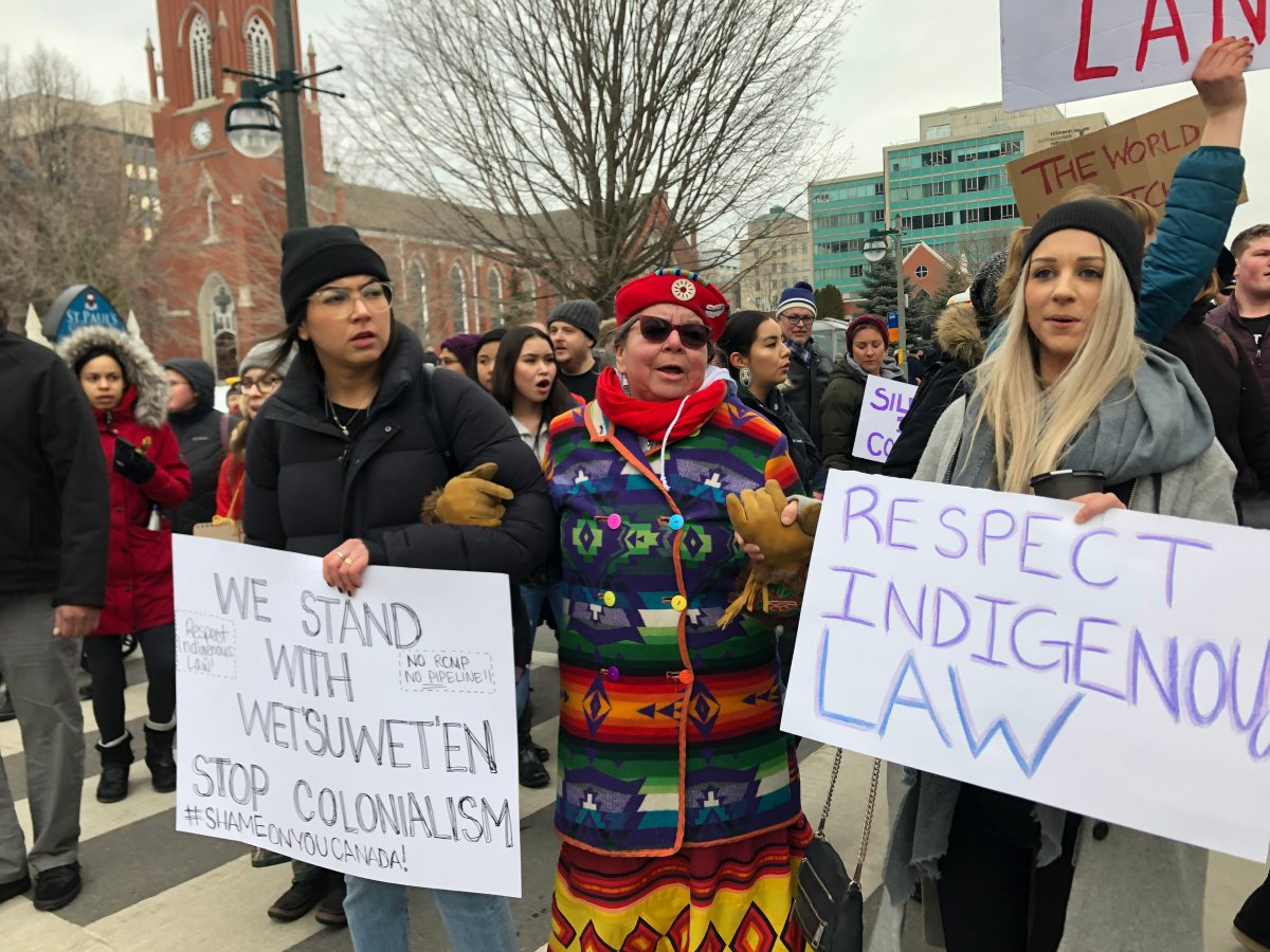 Protestors marched through downtown London to show solidarity with the Wet'suwet'en First Nations.