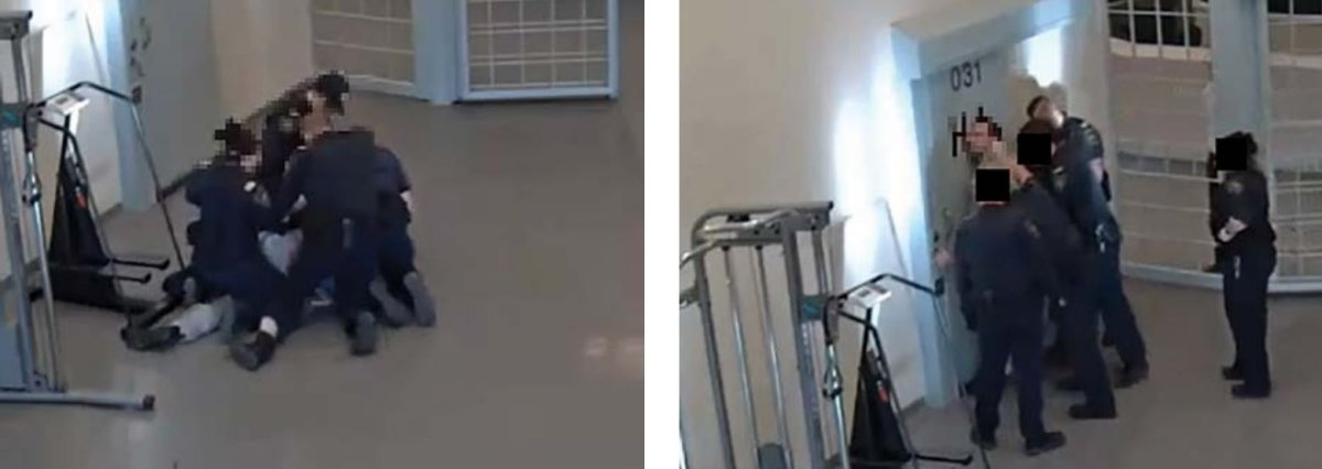 Images included in the Office of the Correctional Investigator seem to illustrate aggressive handling of an inmate with serious impairments. The report says this incident is just one of many that takes place at the Millhaven Instittuion Regional Treatment Centre.
