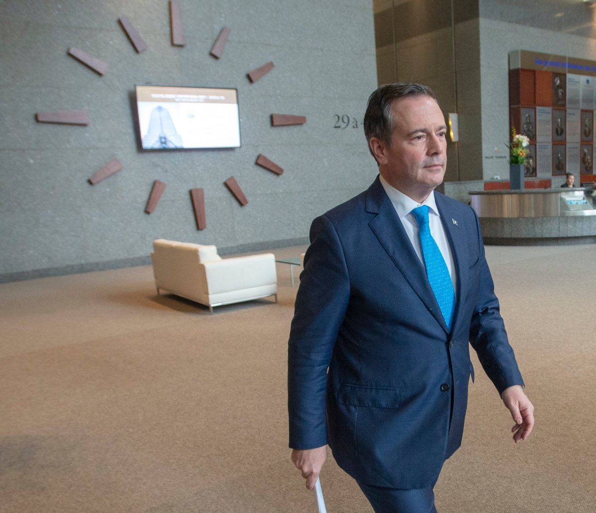 Alberta Premier Jason Kenney leaves after speaking to the media Tuesday, February 4, 2020 in Montreal.