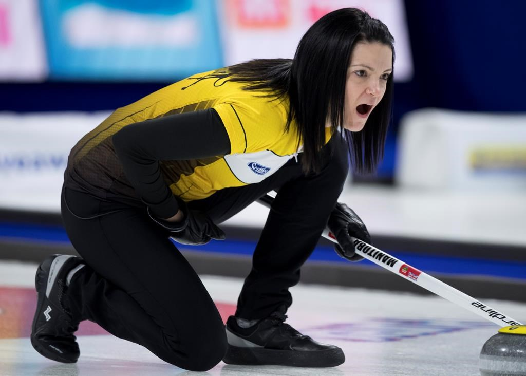 Team Manitoba skip Kerri Einarson calls a shot during draw 16 against team British Columbia at the Scotties Tournament of Hearts in Moose Jaw, Sask., Thursday, February 20, 2020.