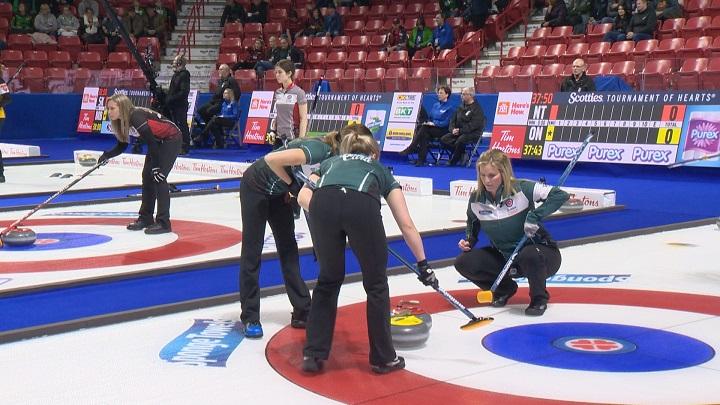 Team Manitoba's Kaitlyn Lawes, Jocelyn Peterman and Jennifer Jones.