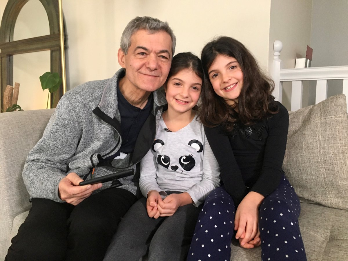 Dimitri Kanevsky with his granddaughters in Montreal. Monday, Feb. 10, 2020.