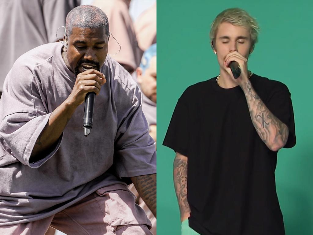 (L-R) Kanye West and Justin Bieber.