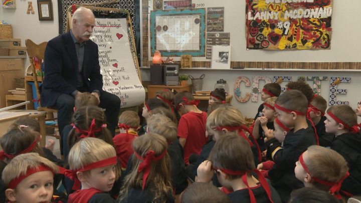 Former Calgary Flames captain Lanny McDonald visited kids at Airdrie's Windsong Heights School on Monday, Feb. 3, 2020.