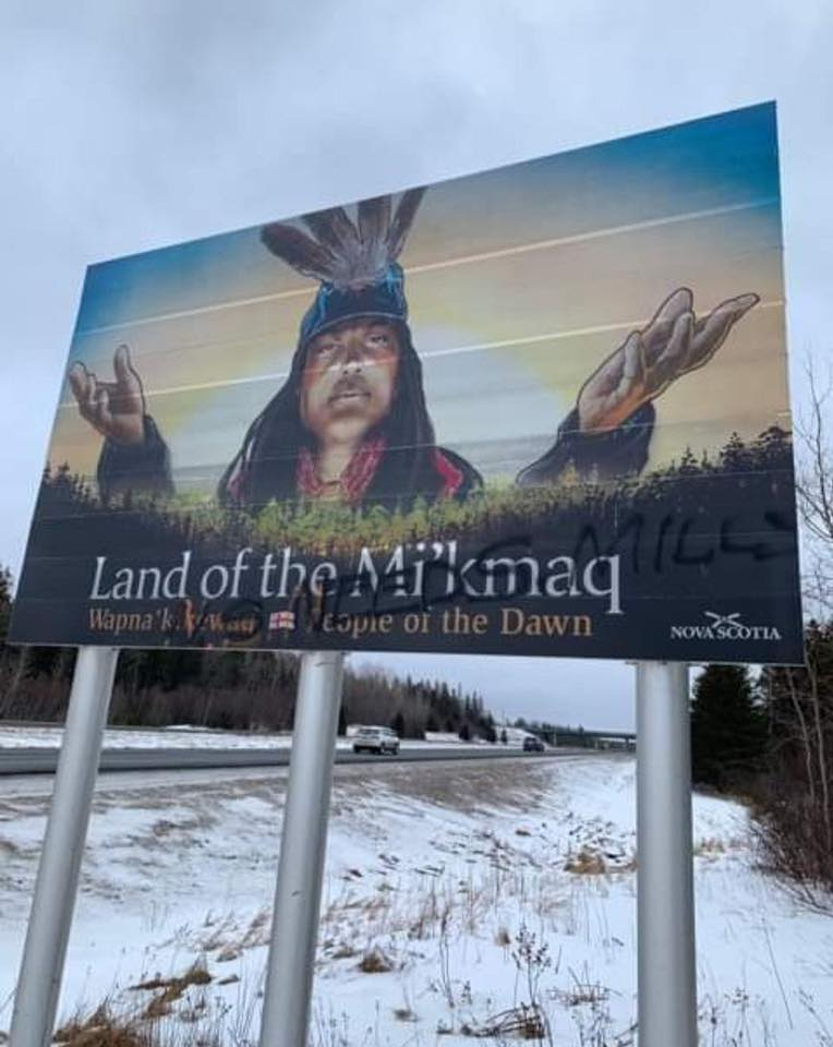 A provincial sign along highway 104 was defaced over the weekend.