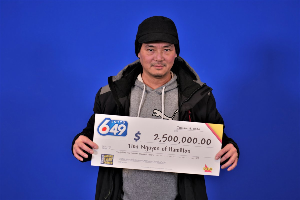 Ontario Lottery Gaming says Hamilton resident Tien Nguyen will pickup $2.5 Million after splitting a 6/49 grand prize draw from December 2019.