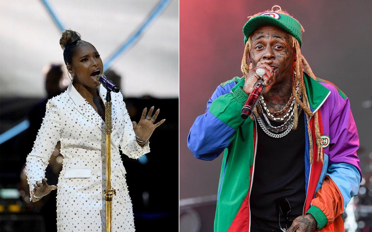 (L-R): Jennifer Hudson and rapper Lil Wayne.