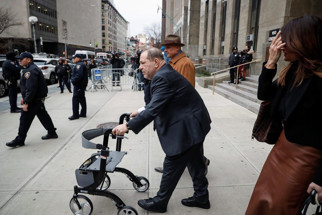 Harvey Weinstein departs a Manhattan courthouse for his rape trial, Wednesday, Feb. 5, 2020, in New York.