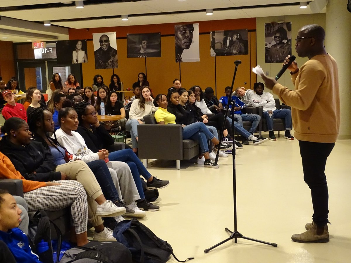 """Students from Champlain College Saint-Lambert listen to the """"Tracking Black Canada"""" presentation on Jan 29, 2020."""