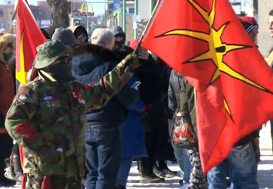 Dozens of demonstrators rallied in front of RCMP headquarters in Winnipeg Friday in support of those opposing a natural gas pipeline in northern B.C.