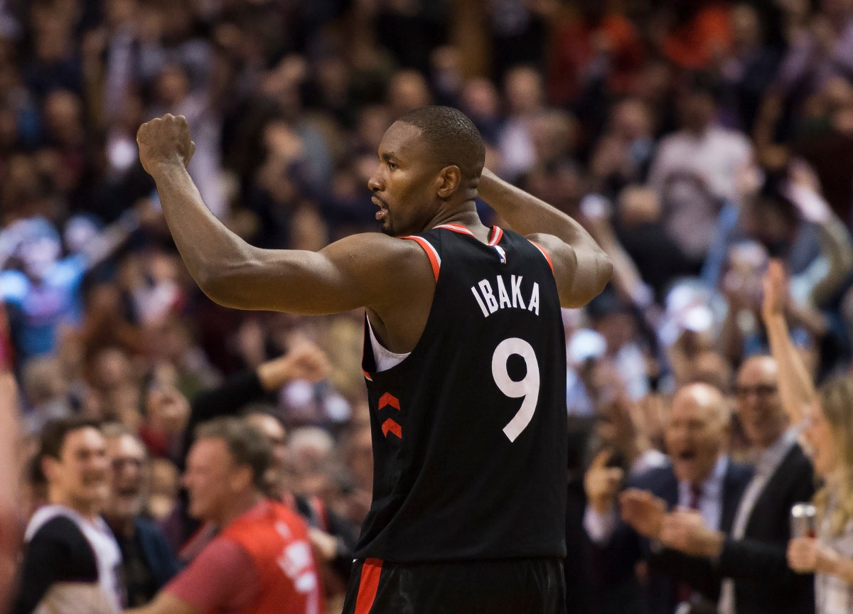 Toronto Raptors centre Serge Ibaka (9) reacts after scoring the game winning three point basket to defeat the Indiana Pacers during second half NBA basketball action in Toronto on Wednesday, February 5, 2020.