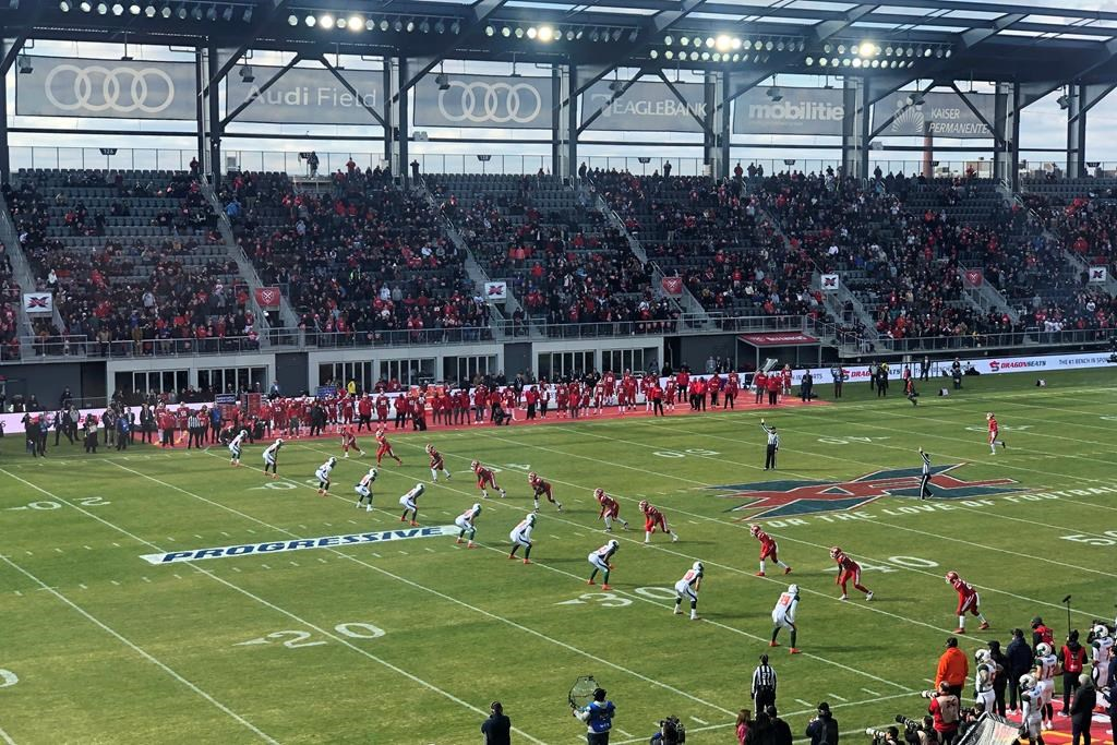 The D.C. Defenders, right, line up against the Seattle Dragons for the opening kickoff of the opening football game of the XFL season, Saturday, Feb. 8, 2020, in Washington, DC.