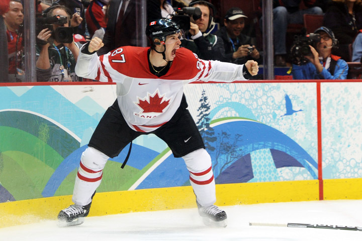 VANCOUVER, BC - FEBRUARY 28, 2010:  Sidney Crosby #87 of Team Canada celebrates after scoring the 'Golden Goal' in overtime during the ice hockey men's gold medal game between USA and Canada on day 17 of the Vancouver 2010 Winter Olympics.