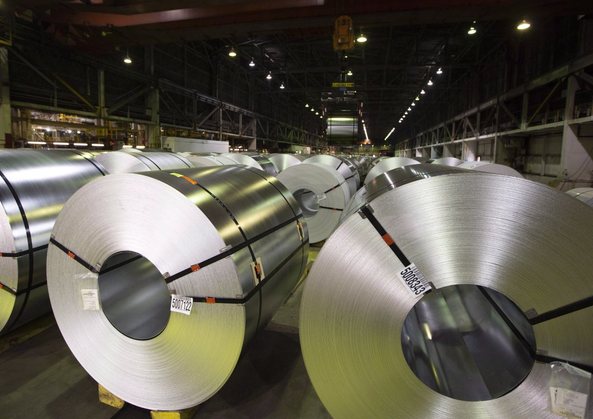 Rolls of coiled coated steel are shown at Stelco in Hamilton, Ont., on June 29, 2018.