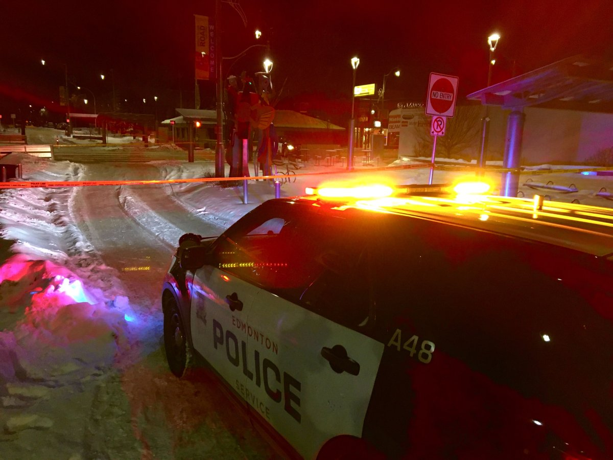 Edmonton police investigate a suspicious death in the area of Stony Plain Road and 152 Street Wednesday, Feb. 19, 2020.