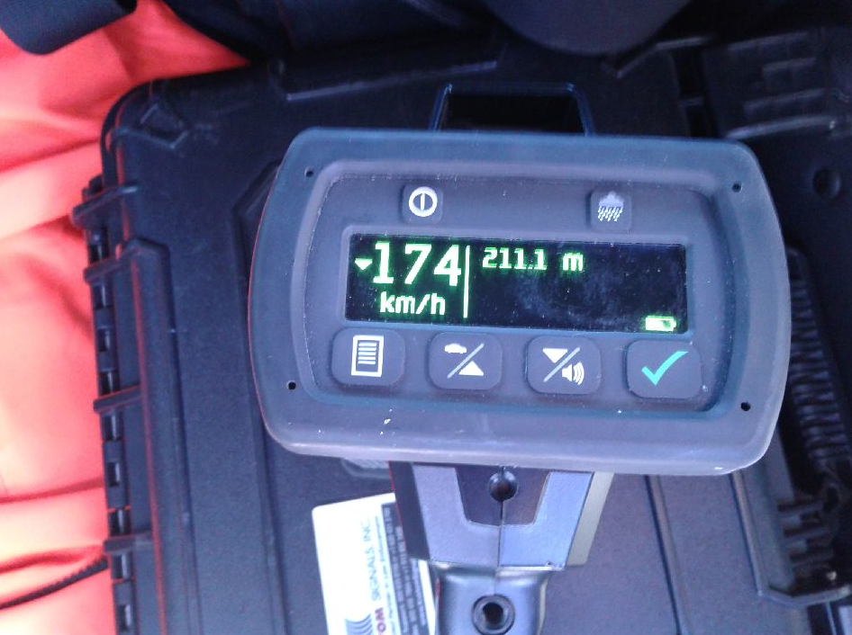 Police say their RADAR gun captured one of the drivers travelling 174 km/h in a 110 km/h zone.