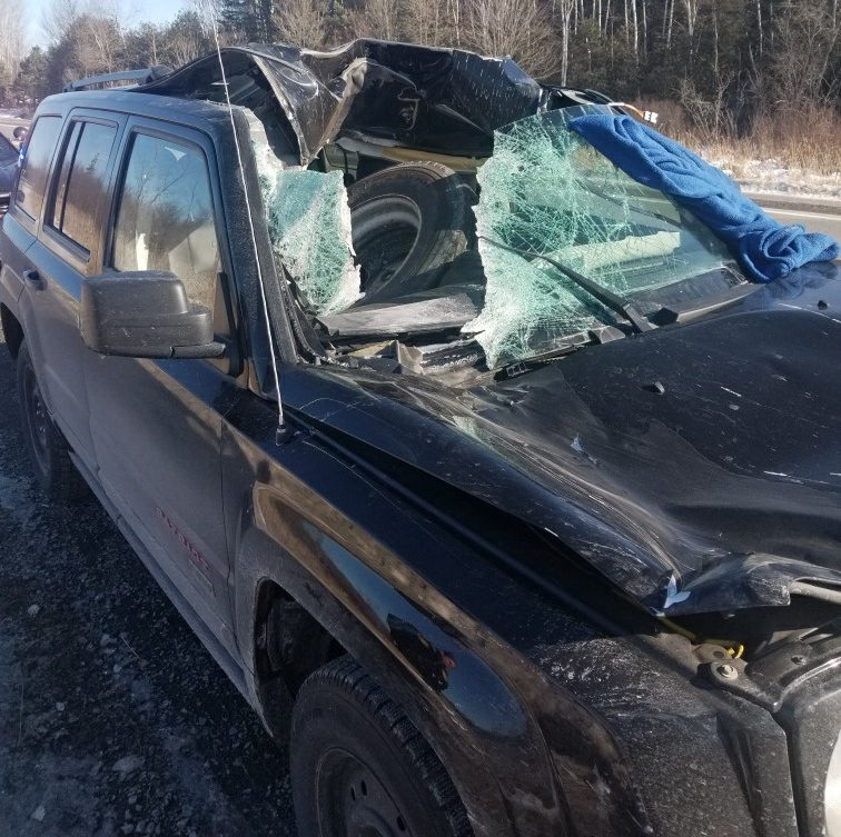 OPP say a tractor-trailer tire fell off and struck this vehicle on Hwy. 7 on Wednesday.