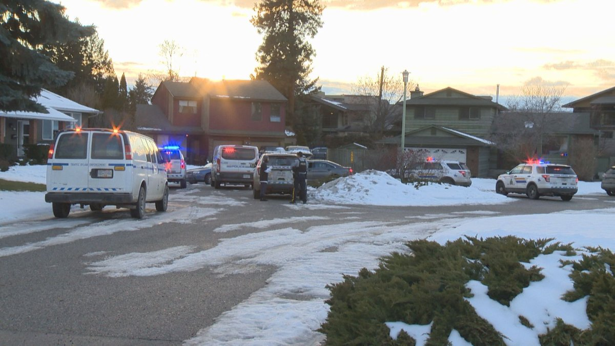 There was a heavy police presence on Tomby Court in Kelowna Friday afternoon.