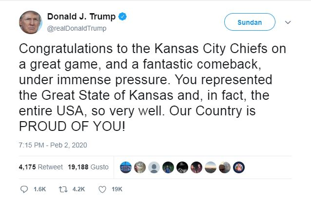 This screenshot taken from cached website Wayback Machine shows U.S. President Donald Trump congratulated the Kansas City Chiefs Sunday for their Super Bowl win by stating they were from the state of Kansas. Kansas City is located in Missouri.