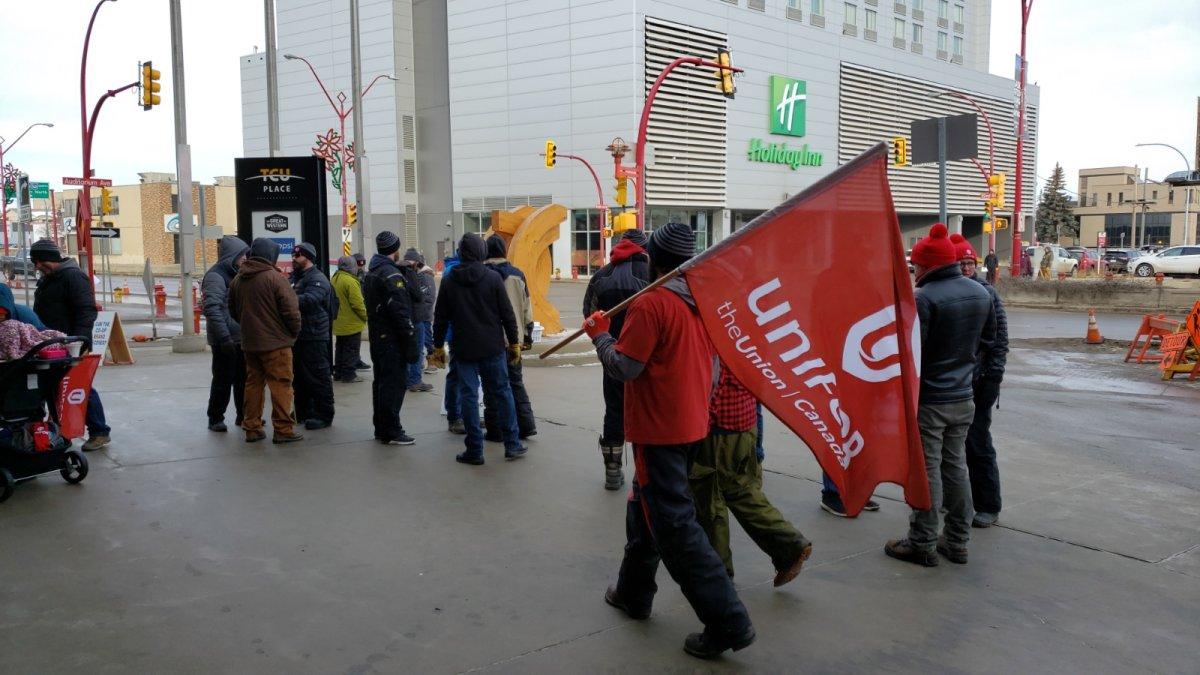 Approximately 34 people were out front of TCU Place on Saturday morning to show support for Unifor 594 members, with the annual meeting for the Federated Co-op Limited taking place inside.
